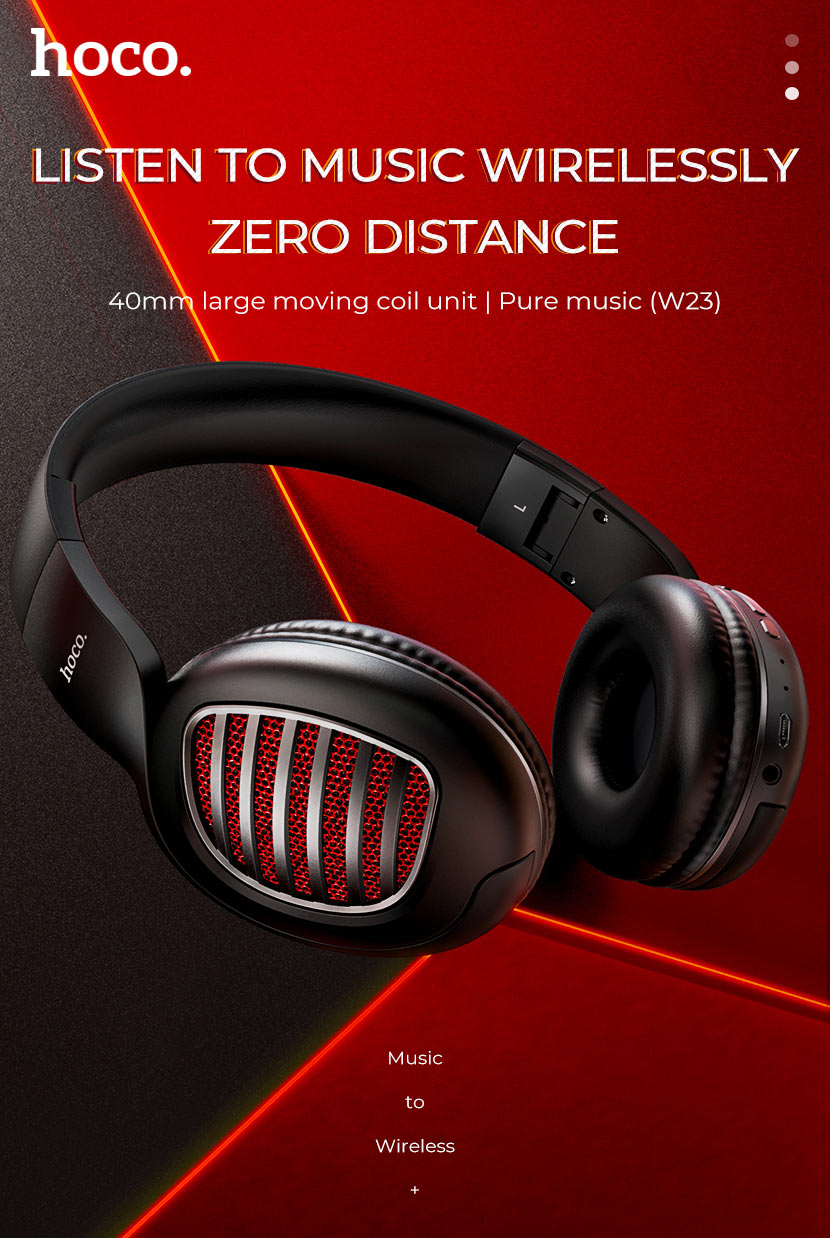 hoco news w23 brilliant sound wireless headphones music en