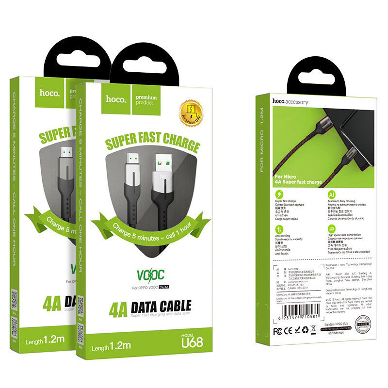 hoco u68 4a gusto flash charging data cable for micro usb packages
