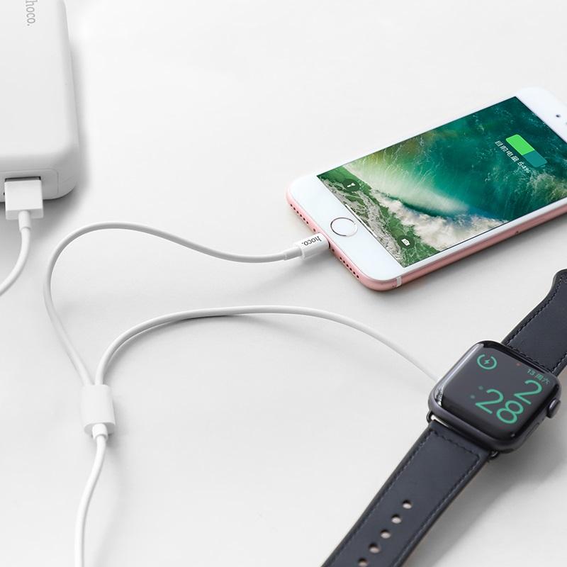 hoco u69 2в1 зарядний кабель для lightning iwatch бездротова зарядка дріт
