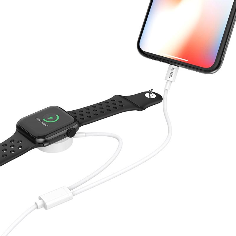 hoco u69 2в1 зарядний кабель для lightning iwatch бездротова зарядка огляд