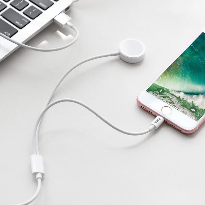 hoco u69 2в1 зарядний кабель для lightning iwatch бездротова зарядка телефон