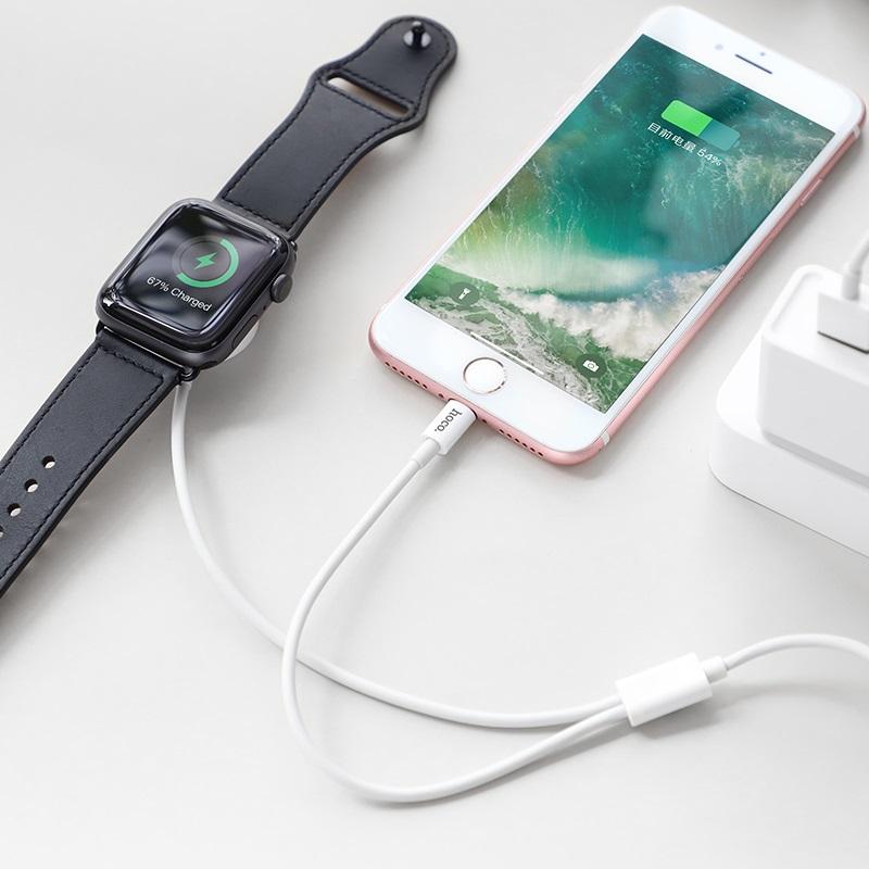 hoco u69 2в1 зарядний кабель для lightning iwatch бездротова зарядка годинник