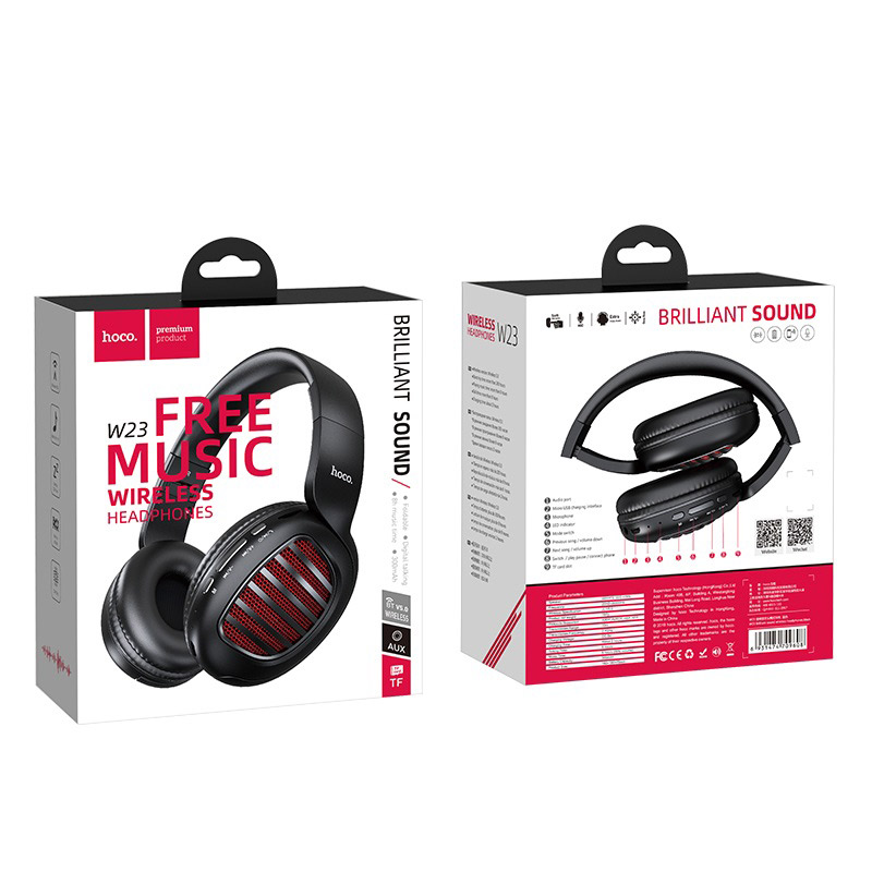 hoco w23 brilliant sound wireless headphones package front back