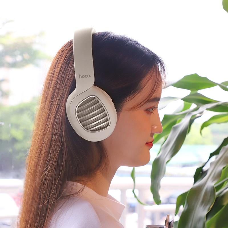 hoco w23 brilliant sound wireless headphones woman