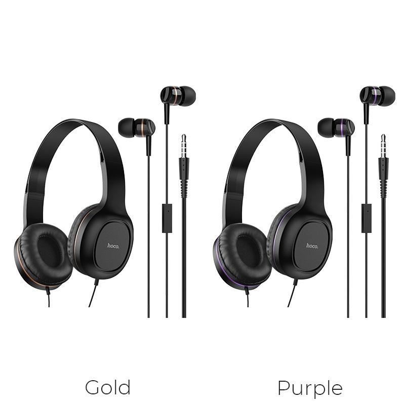 hoco w24 enlighten наушники с микрофоном набор золото фиолетовый