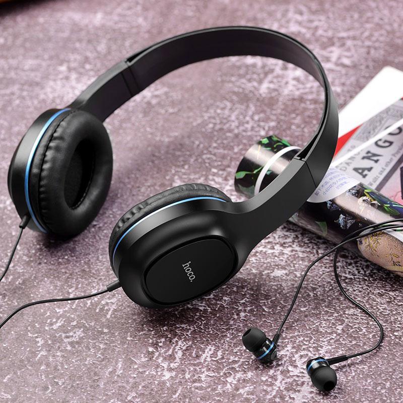 hoco w24 enlighten наушники с микрофоном набор интерьер синий