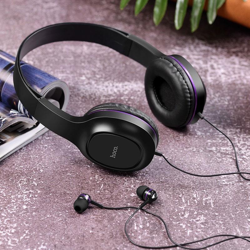 hoco w24 enlighten наушники с микрофоном набор интерьер фиолетовый