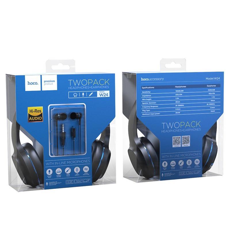 hoco w24 enlighten наушники с микрофоном набор упаковка спереди сзади