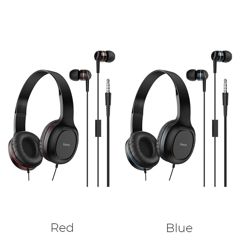 hoco w24 enlighten наушники с микрофоном набор красный синий