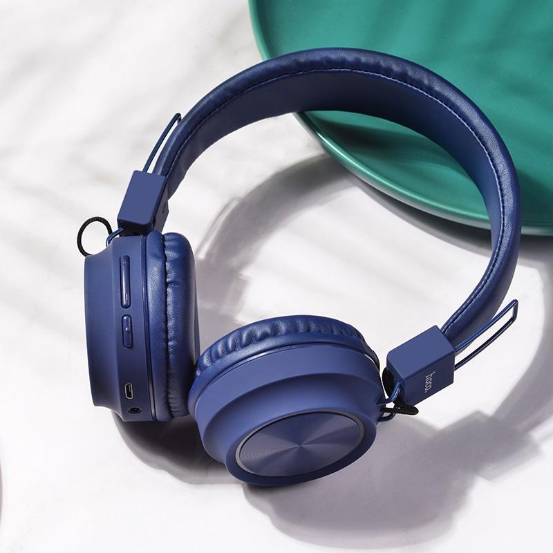 hoco w25 promise wireless headphones interior blue