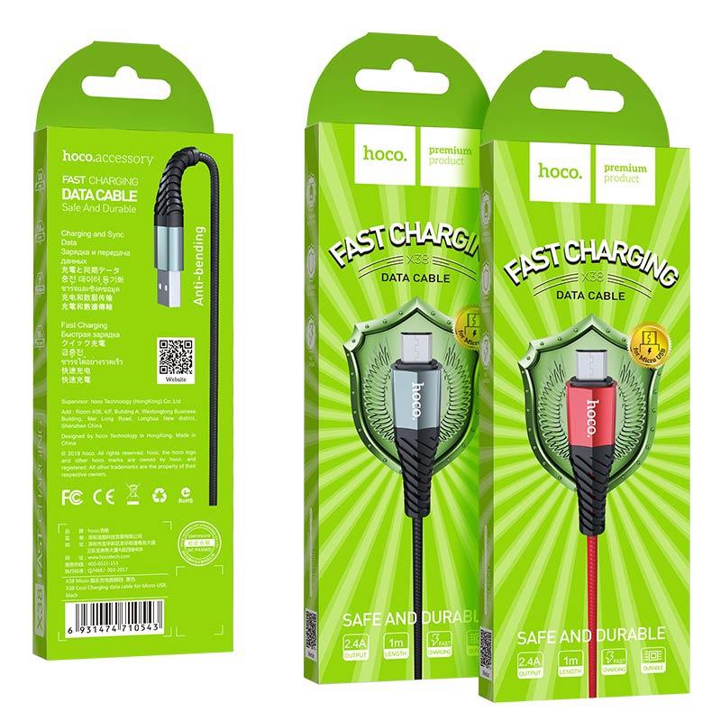 hoco x38 cool charging зарядный дата кабель для micro usb упаковка