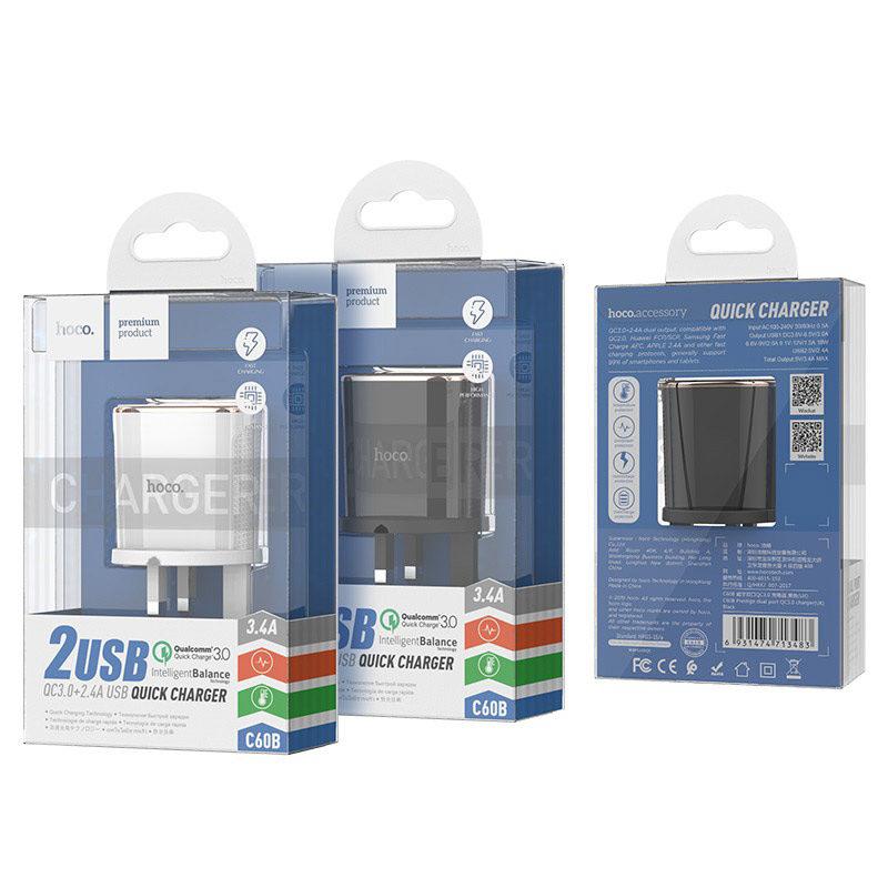 hoco c60b prestige dual port qc30 charger uk package