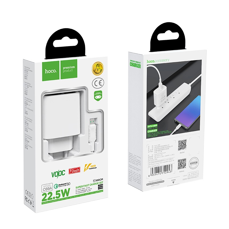 hoco c69a dynamic power fully compatible wall charger eu micro usb set package