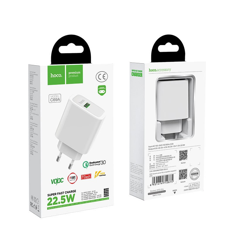 hoco c69a dynamic power fully compatible wall charger eu packages