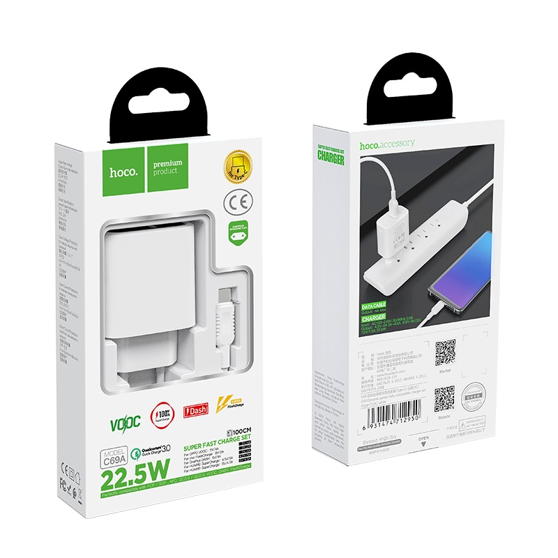 hoco c69a dynamic power fully compatible wall charger eu type c set package