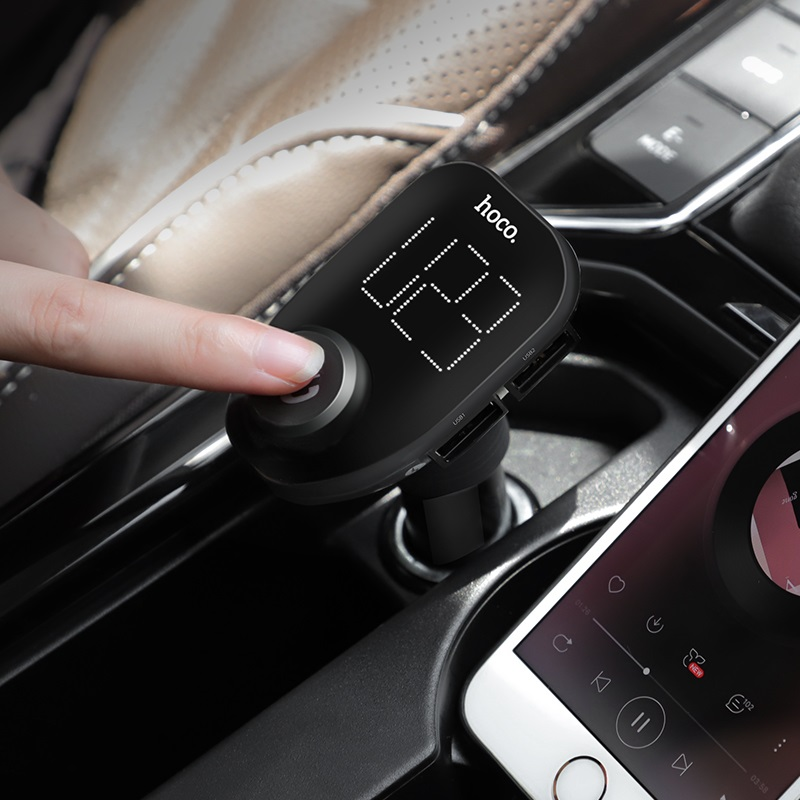 hoco e45 happy route car wireless fm transmitter car charger button