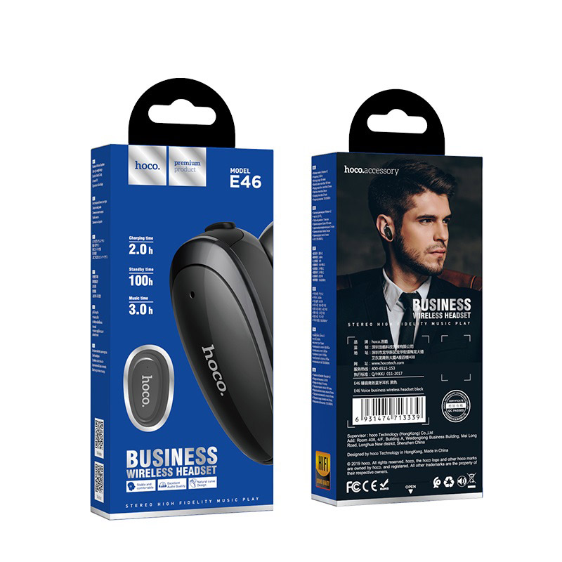 hoco e46 voice business wireless headset front back package