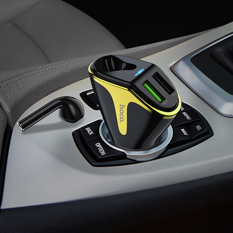 hoco e47 traveller wireless headset car charger interior black