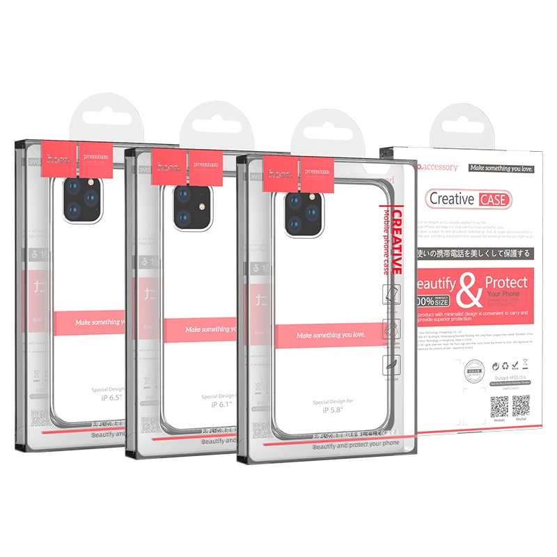 hoco iphone 5.8 6.1 6.5 light series tpu case packages