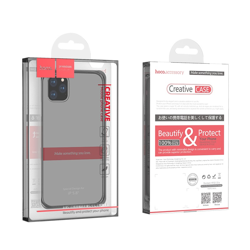 hoco iphone 5.8 light series tpu case front back packages