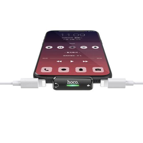 hoco ls27 apple dual lightning digital audio converter light metal gray connection
