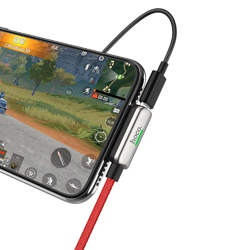 hoco ls28 usb to lightning male lightning female digital audio conversion cable indicator