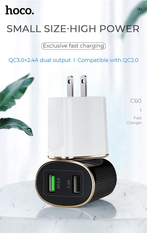 hoco news c60 prestige dual port qc30 charger power en