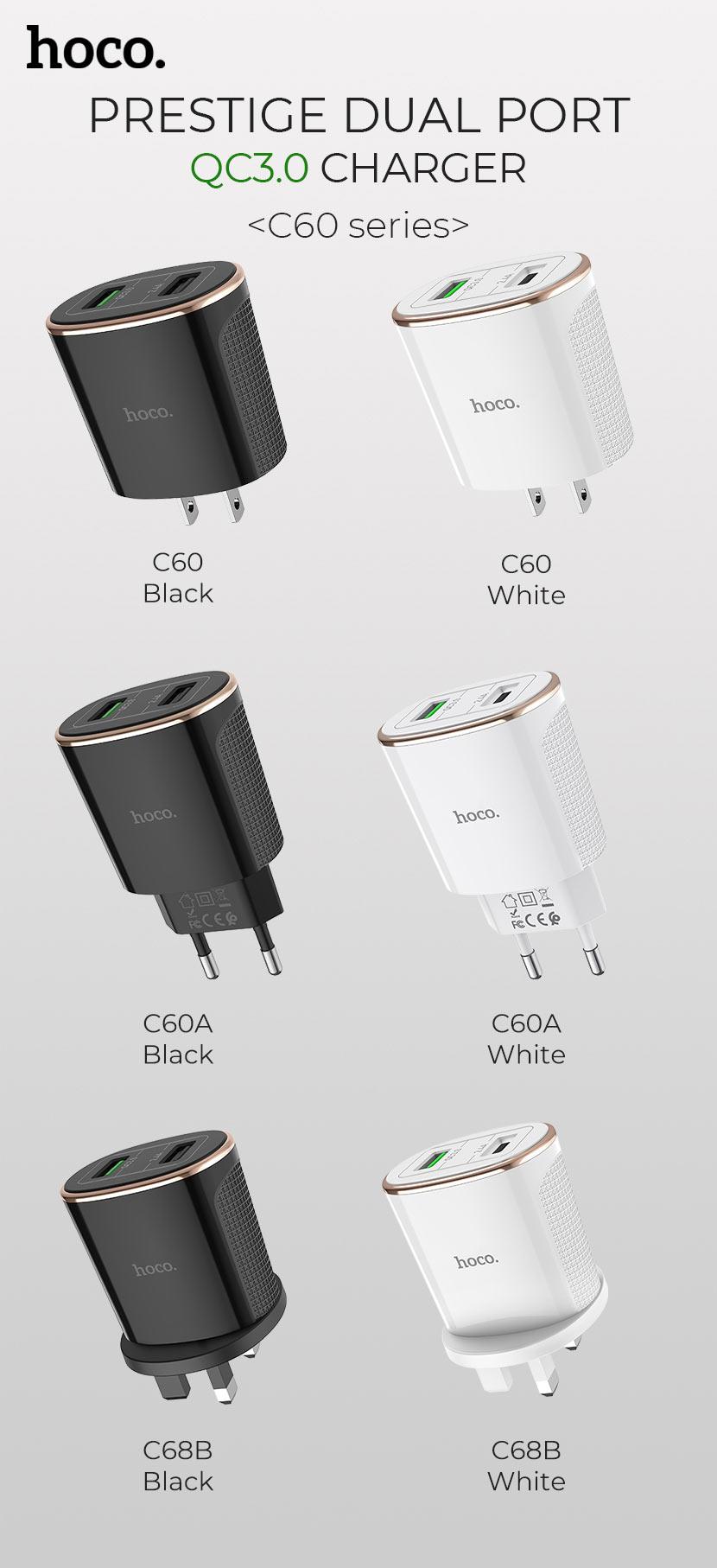 hoco news c60 prestige dual port qc30 charger set en