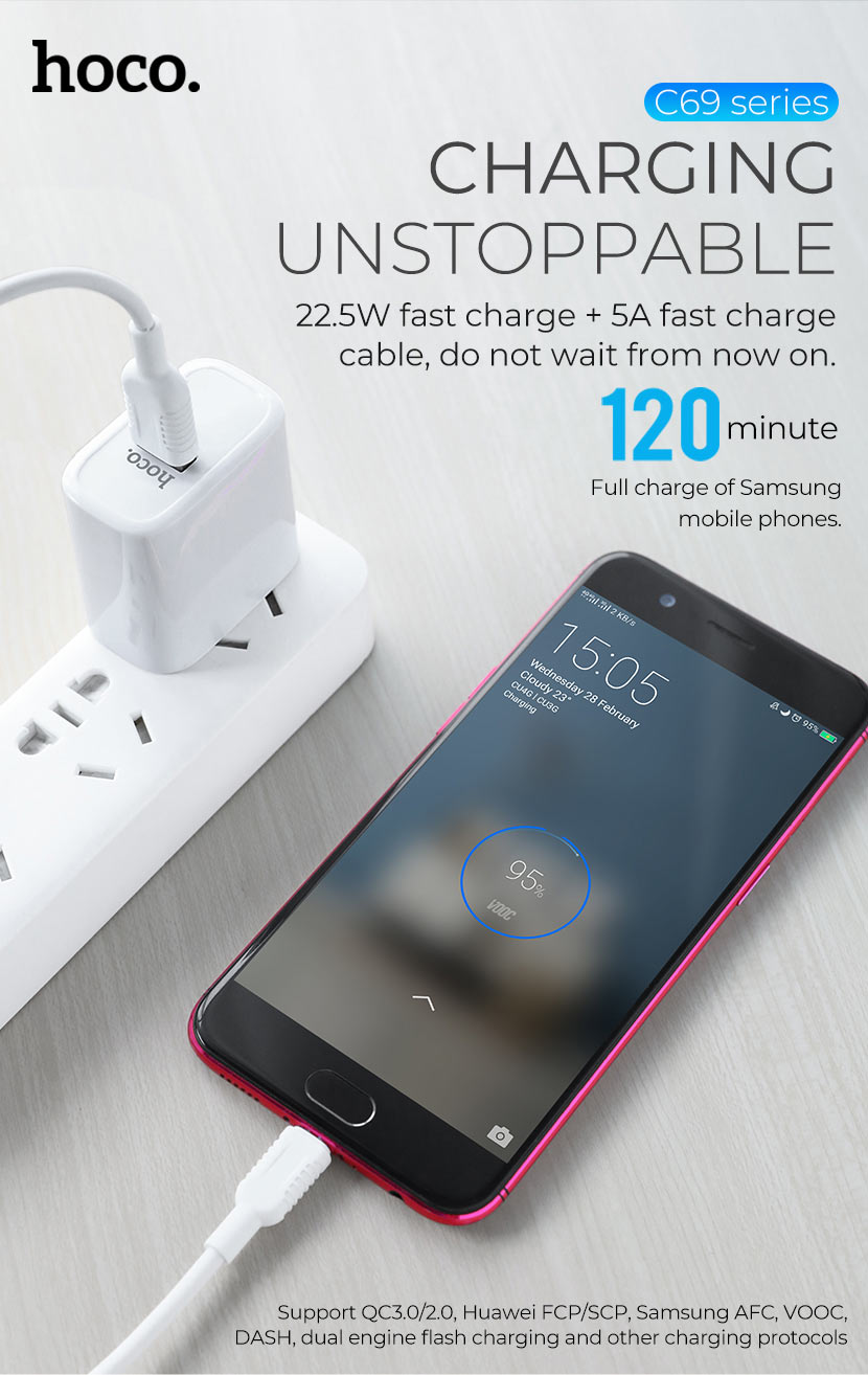 hoco news c69 dynamic power fully compatible charger fast en