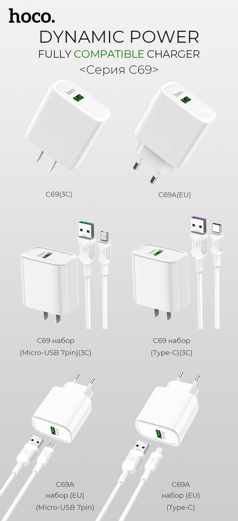 hoco news c69 dynamic power fully compatible charger set ru