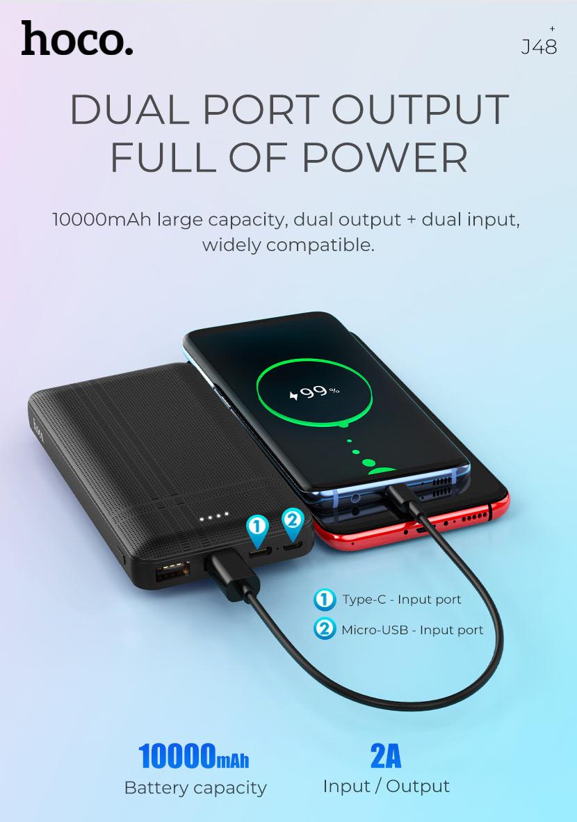 hoco news j48 nimble mobile power bank 10000mah output en