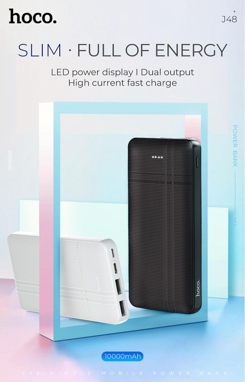 hoco news j48 nimble mobile power bank 10000mah slim en