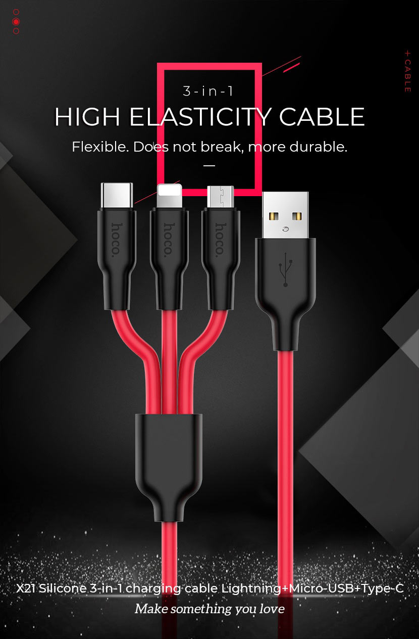 hoco news silicone data cables collection x21 3in1 en