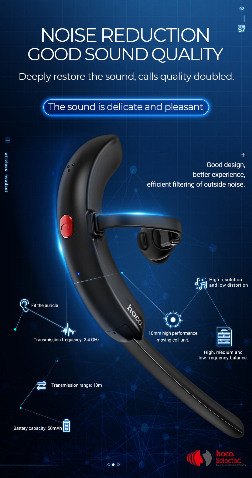 hoco selected s7 delight business wireless headset noise reduction en