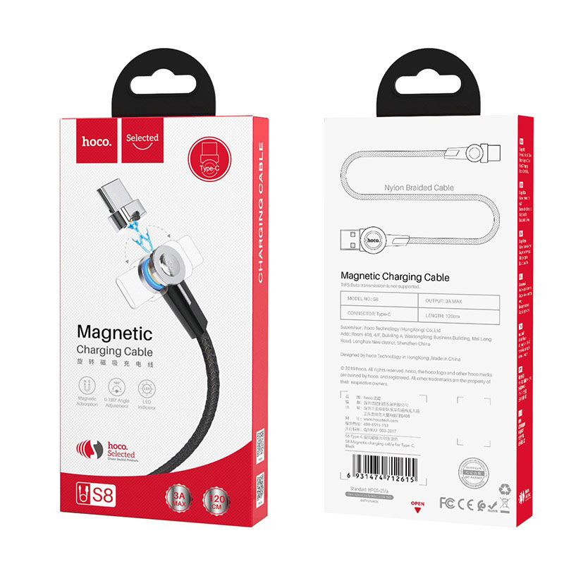 hoco selected s8 magnetic charging cable for type c package