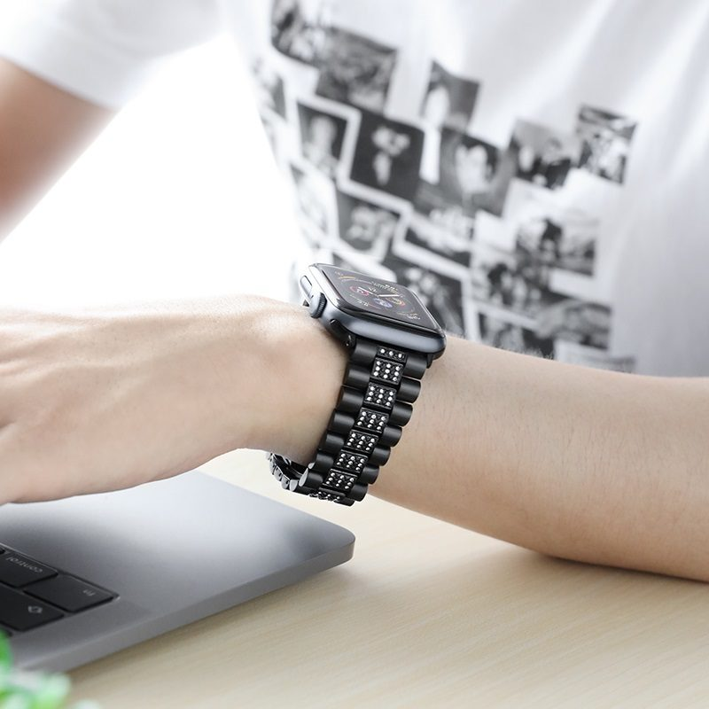 hoco wb08 shining steel watch strap for apple watch interior black