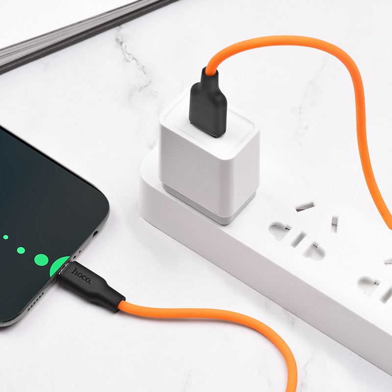 hoco x21 plus type c силиконовый зарядный кабель зарядка оранжевый