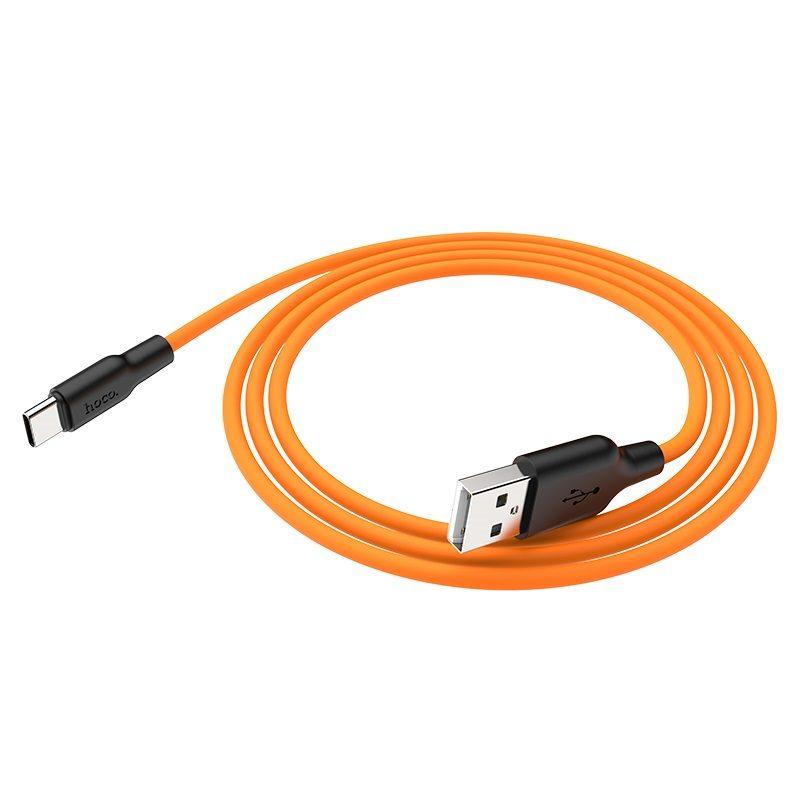 hoco x21 plus type c силиконовый зарядный кабель гибкий оранжевый
