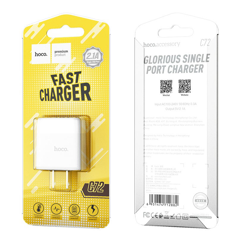 hoco c72 glorious single port charger us packages