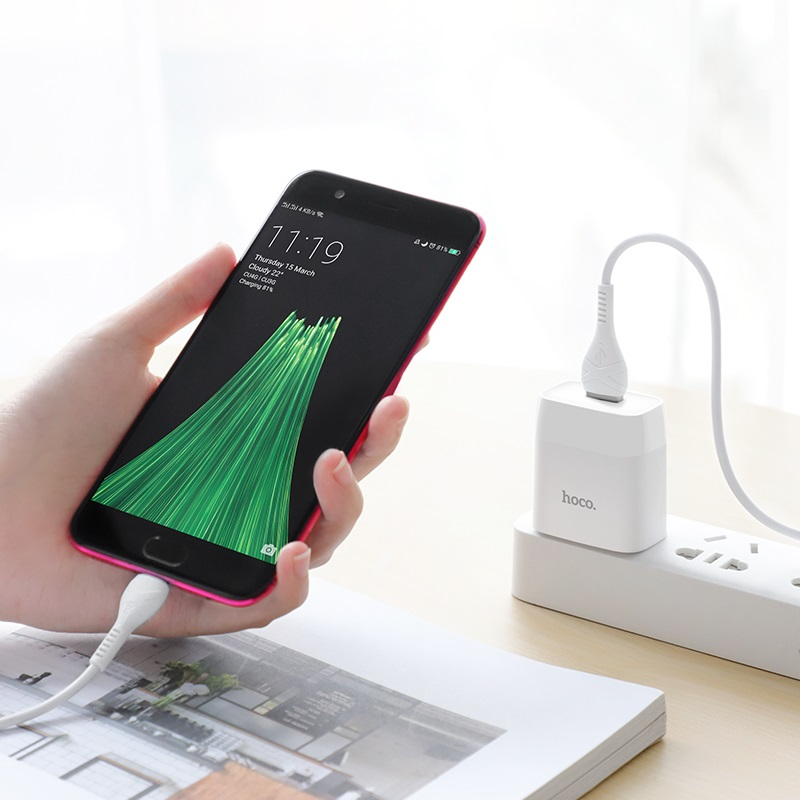 hoco c72 glorious single port charger us set with micro usb cable phone