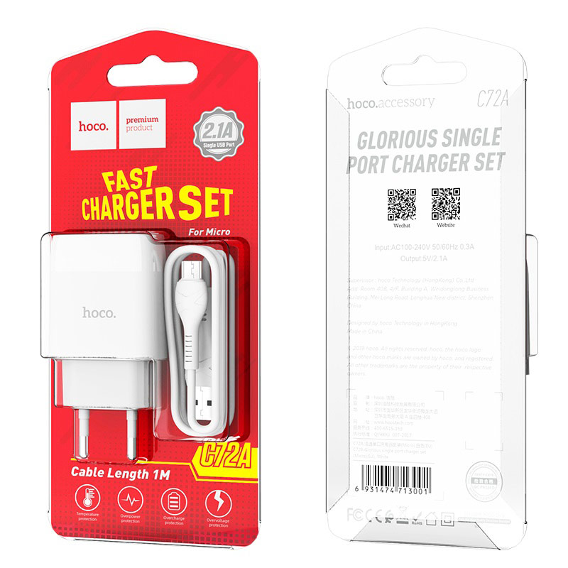 hoco c72a glorious single port charger eu set with micro usb cable package