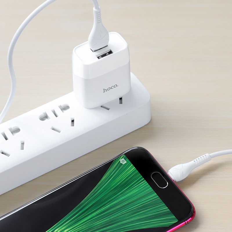 hoco c73 glorious dual port charger us set with micro usb cable interior