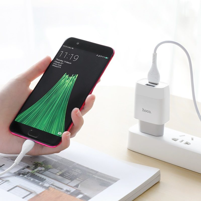 hoco c73a glorious dual port charger eu set with micro usb cable phone