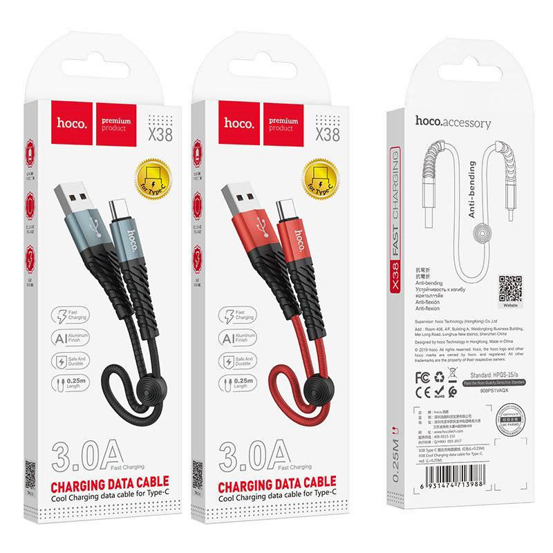 hoco x38 cool зарядный дата кабель для type c 25см упаковка