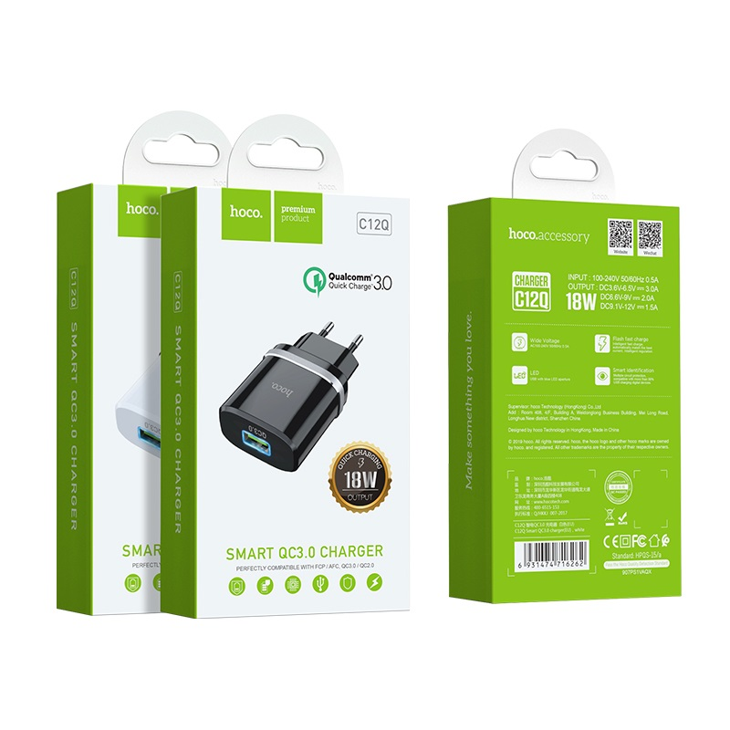 hoco c12q smart qc30 зарядный адаптер eu упаковка