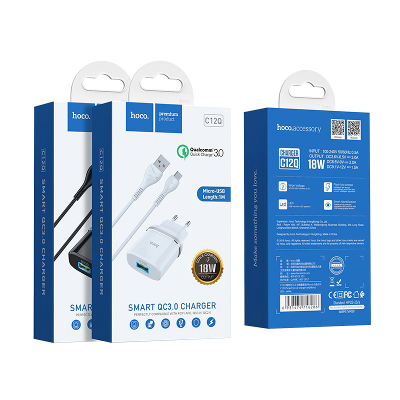 hoco c12q smart qc30 зарядный адаптер eu набор с кабелем micro usb упаковка