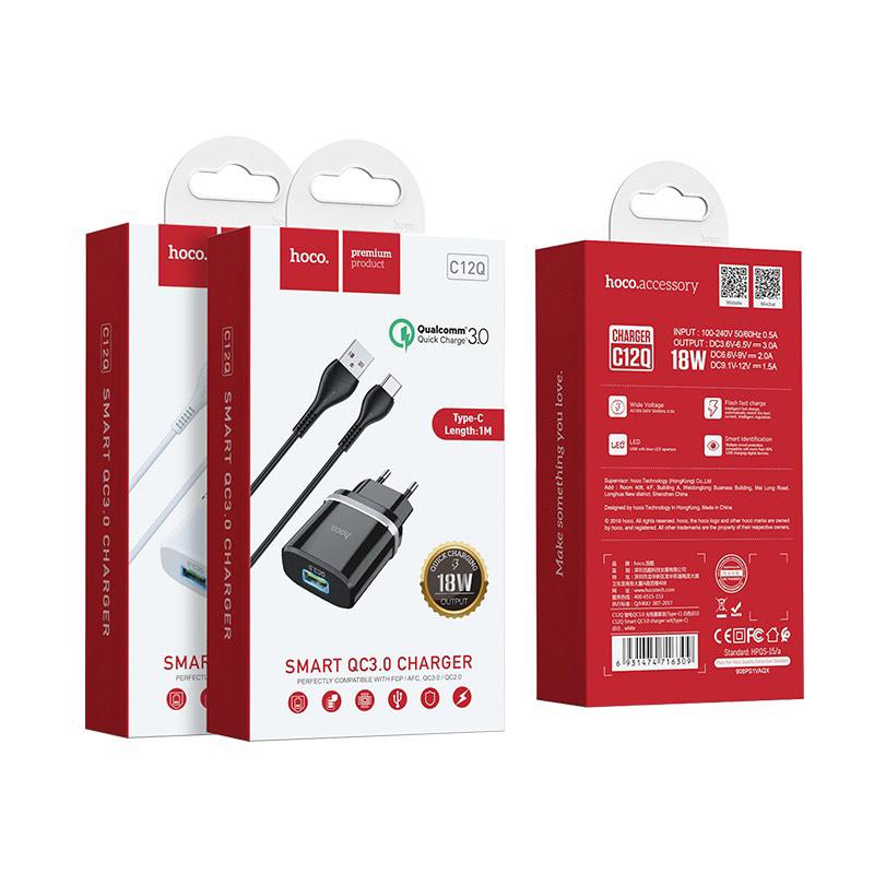 hoco c12q smart qc30 зарядный адаптер eu набор с кабелем type c упаковка