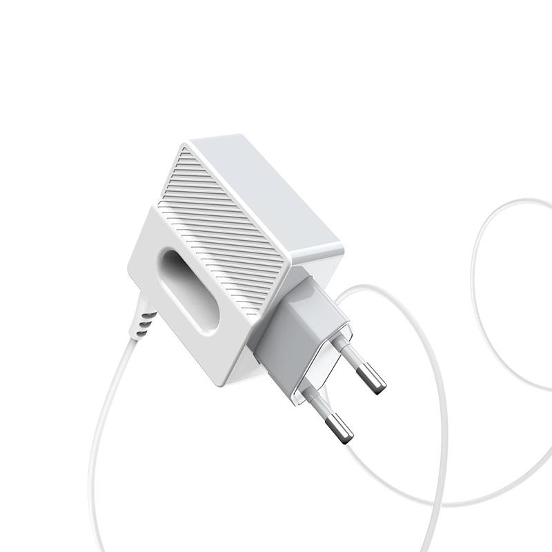 hoco c75 imperious зарядный адаптер с двумя портами и встроенным кабелем eu штекер
