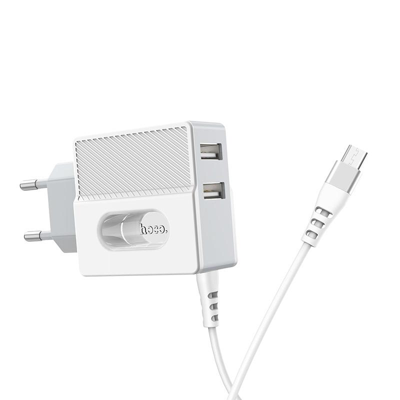 hoco c75 imperious зарядный адаптер с двумя портами и встроенным кабелем eu usb