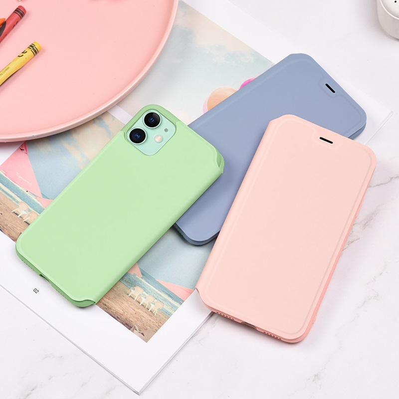 hoco colorful series liquid silicone case for iphone 11 interior pink green purple